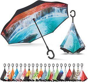 #1. Windproof Upside Down Umbrella
