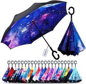 #2. Windproof Double Layer Upside-Down Umbrella