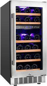 #3. Upgraded 15-inch glass door refrigerator with mini-fridge design