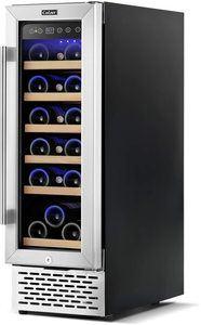 #7. Elegant 12-inch Glass Door Refrigerator with mini-fridge design