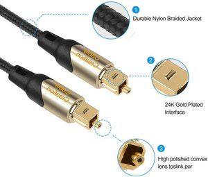 6. CableCreation Fiber Digital Optical SPDIF Toslink Cable