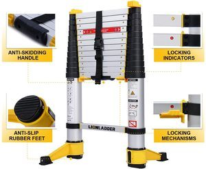 7. xaestival Lionladder 12.5 feet EN131-6 Telescoping Ladder