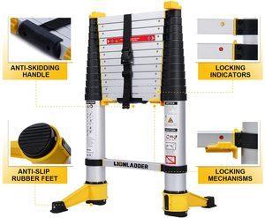 7. xaestival Lionladder 12.5 feet EN131-6 Telescoping Ladder