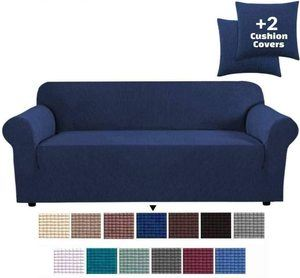 8. JINAMART High Stretch Couch Cover -Navy Blue
