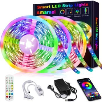 1. Smareal 50 ft RGB LED Strip Lights