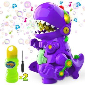 2. WisToyz Bubble Machine Dinosaur Bubble Blower