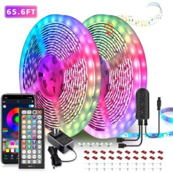 4. 65.6ft LED Strip Lights with Music Sync
