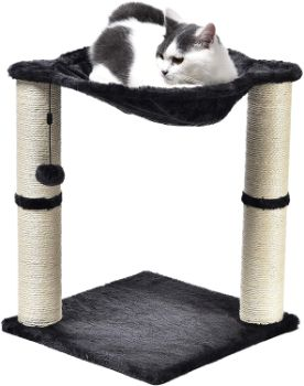 #1. AmazonBasics Cat Condo Tree Tower with Hammock Bed