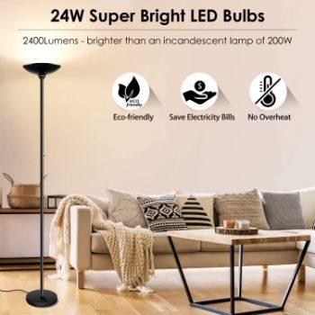 #10. BoostArea Torchiere Floor Lamp