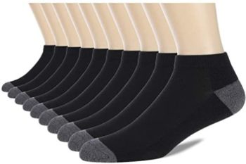 #6. COOVAN 10 Pairs Men's Cushion Ankle Socks
