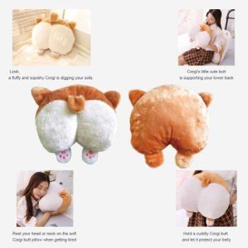 7. Toydaze Corgi Butt Pillow as Joke Gift for Corgi Lovers