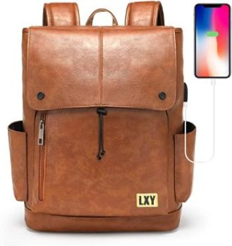 8. Faux Leather Backpack USB Port Laptop Bookbag