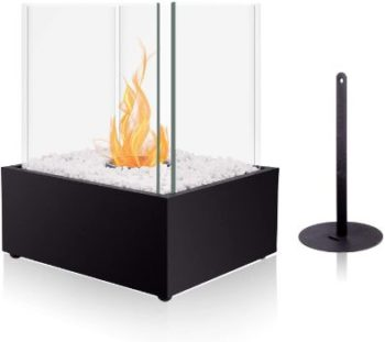 #9. BRIAN & DANY Ventless Cube XL Tabletop Fireplace