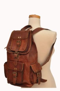 9. HLC 20 Genuine Leather Retro Rucksack Backpack