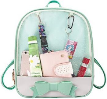 10. Candy Leather Bow Backpack Clear Beach Ita Bag