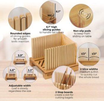 2. Bamboo Bread Slicer, Adjustable Width