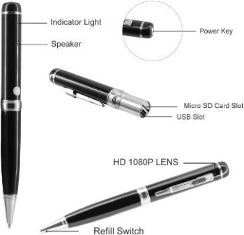 3. DZFtech Hidden Spy Pen Camera
