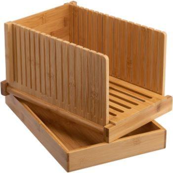 4. PARANTA Bamboo Bread Slicer With Crumb Tray