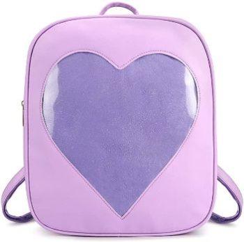 9. SteamedBun Ita Bag Heart Shaped Pin Backpack