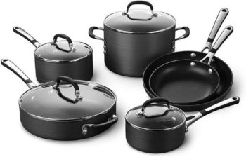 1. Calphalon Simply Pots and Pans Set, 10 Pieces