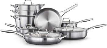 10. Calphalon Premier Stainless Steel Cookware Set, 13-piece