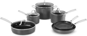 2. Calphalon Classic Pots And Pans Set, 10 Pieces, Gray