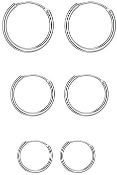 5. Small Sterling Silver Hypoallergenic Cartilage, 3 Pairs