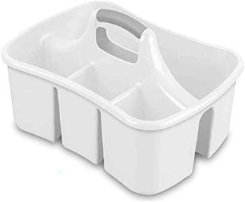 7. Bath Caddie White - Totes with Divided Compartments and Handles